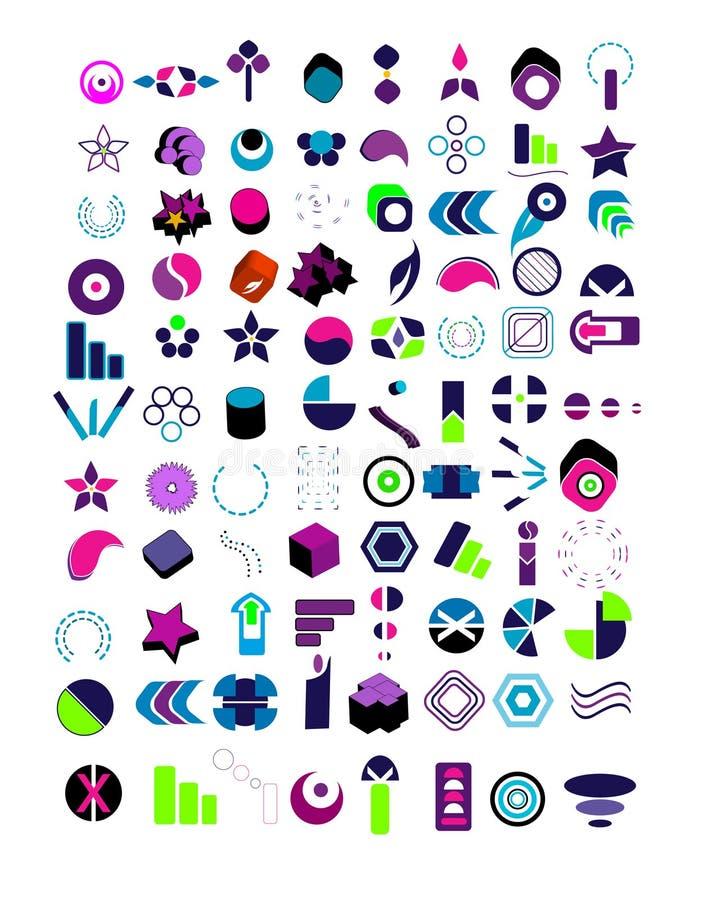 большие установленные логосы vector очень иллюстрация штока