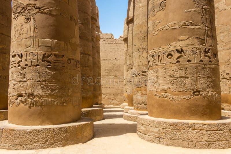 Больший Hypostyle Hall на Karnak, Египте стоковое изображение rf