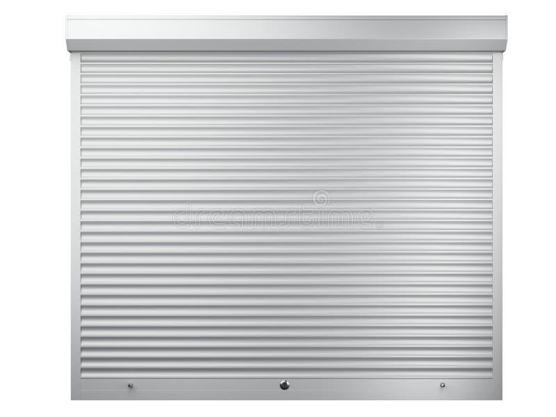 Большим закрытая белым металлом штарка ролика Вид спереди - дверь гаража бесплатная иллюстрация
