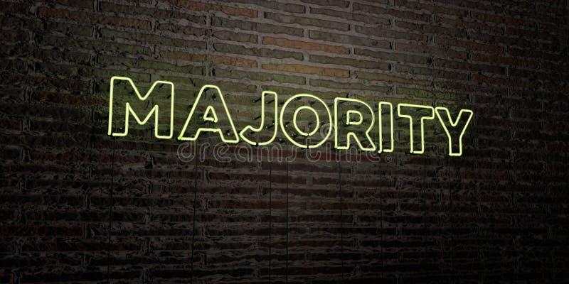 БОЛЬШИНСТВО - реалистическая неоновая вывеска на предпосылке кирпичной стены - представленное 3D изображение неизрасходованного з иллюстрация штока