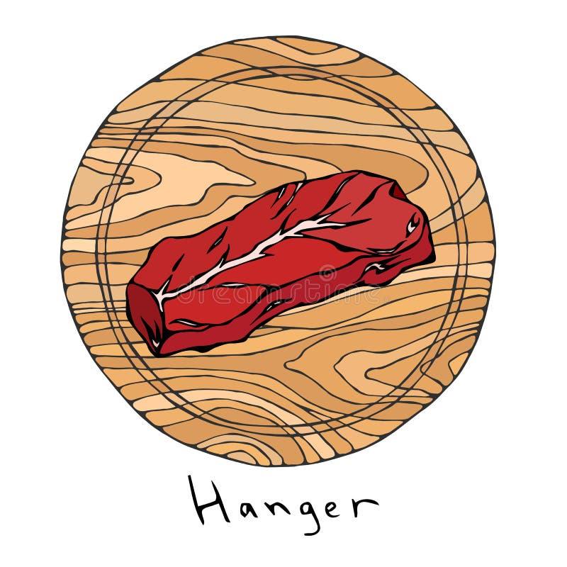 Большинств популярная вешалка стейка на круглой деревянной разделочной доске Отрезок говядины Гид мяса для меню ресторана мясной  иллюстрация вектора
