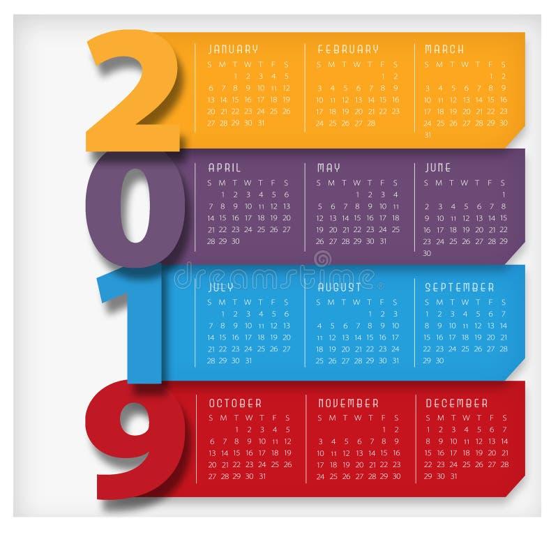 2019 больших календаря современных красочных иллюстрация вектора