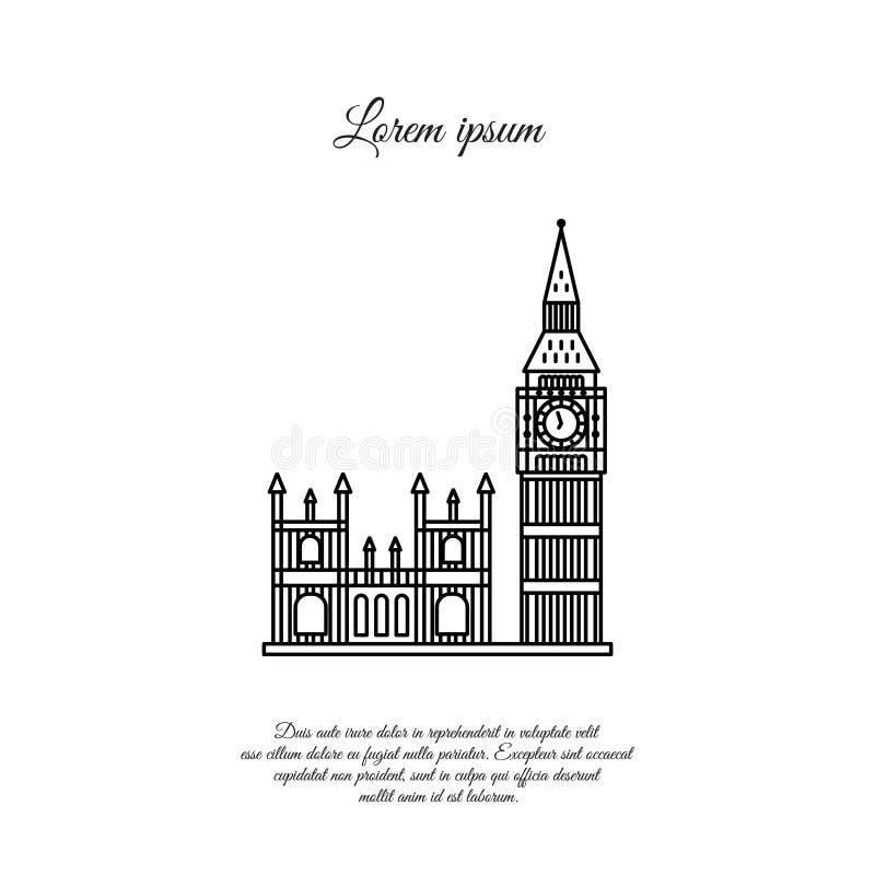 Большое Бен и дворец Вестминстера в линии значке вектора Лондона, знаке иллюстрация штока