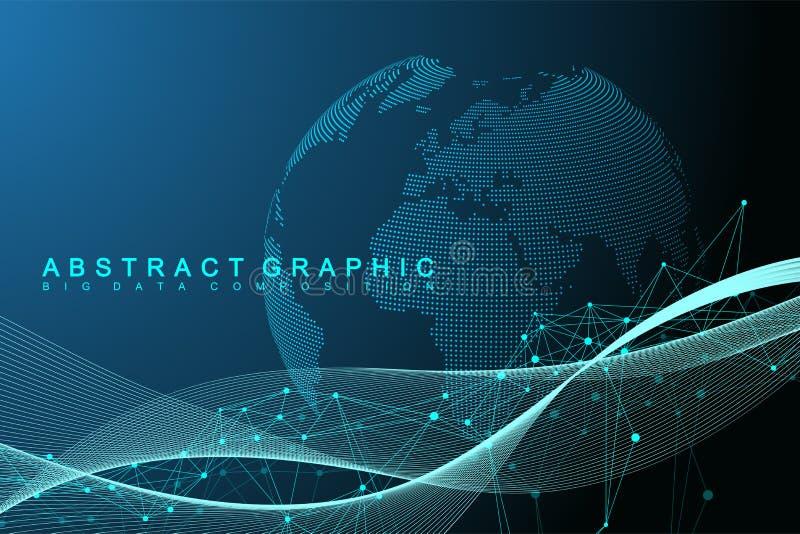 Большое визуализирование данных Графическая абстрактная связь предпосылки Фон перспективы Минимальный массив Цифровые данные бесплатная иллюстрация
