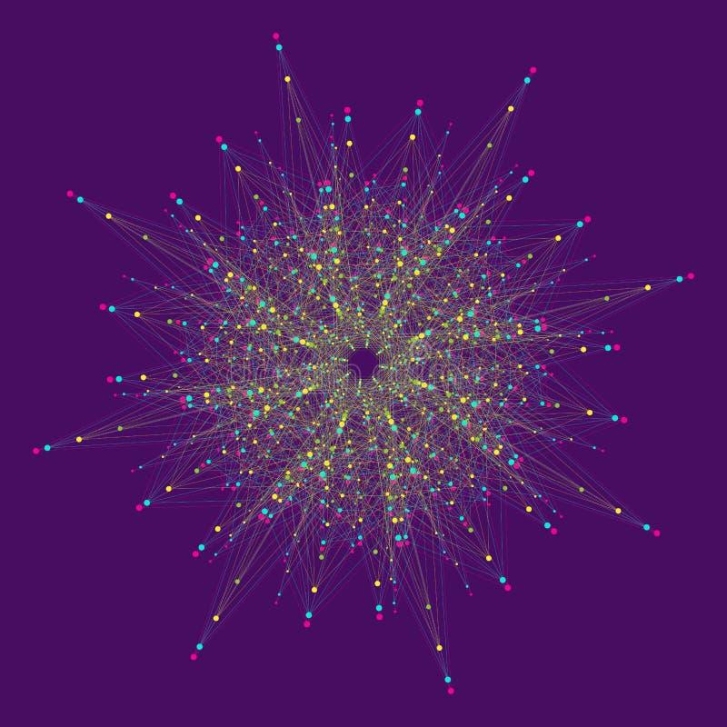 Большое визуализирование данных Искусственный интеллект и концепция машинного обучения Графическая абстрактная связь предпосылки иллюстрация вектора