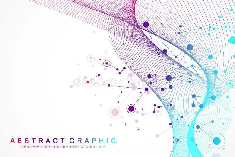 Большое визуализирование данных Искусственный интеллект и концепция машинного обучения Графическая абстрактная связь предпосылки бесплатная иллюстрация
