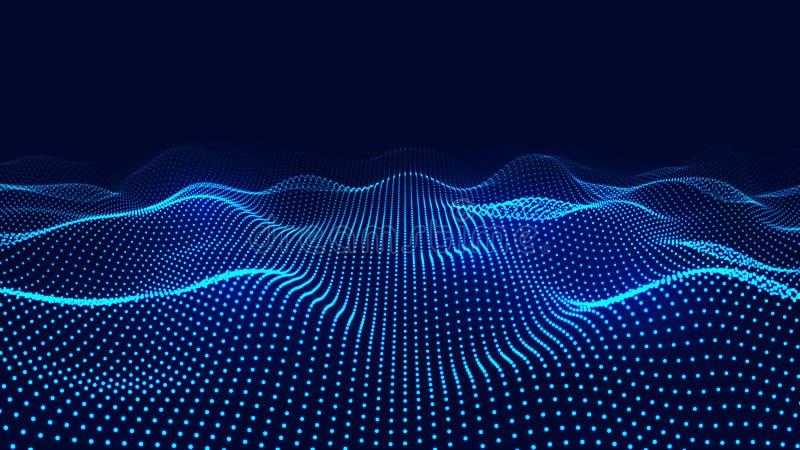 Большое визуализирование 3D данных Волна технологии Представление аналитика Предпосылка цифров r иллюстрация вектора