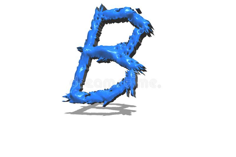 Большое голубое письмо b в 3D