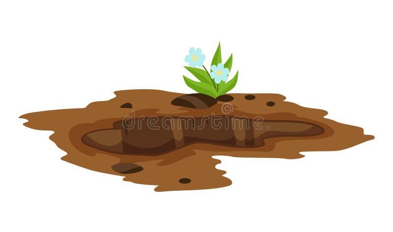 Большое отверстие земная иллюстрация Земной выкапывать работ утеса отхода угля песка и иллюстрации гравия иллюстрация штока