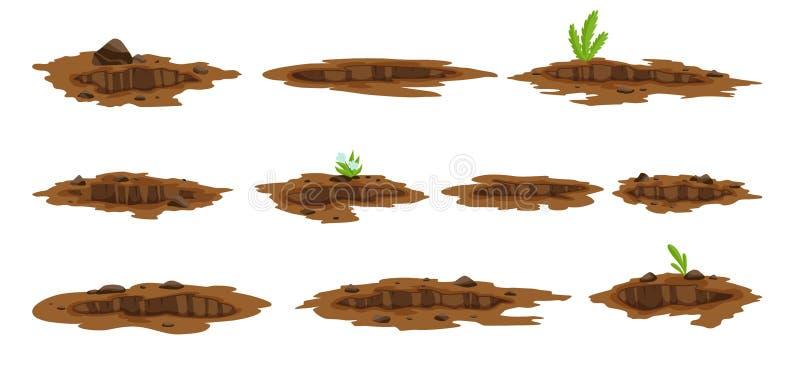 Большое отверстие установило земную иллюстрацию Земной выкапывать работ утеса отхода угля песка и иллюстрации гравия иллюстрация штока