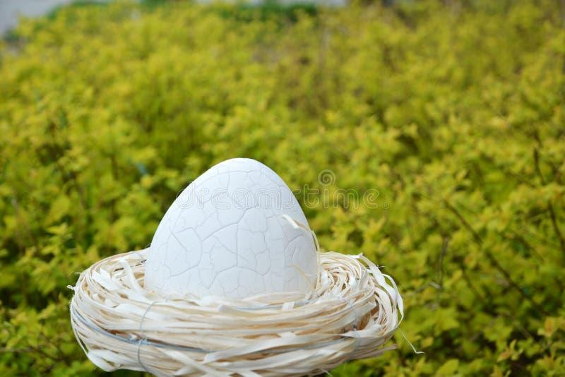 Большое пасхальное яйцо в гнезде стоковое изображение