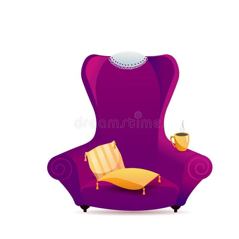 Большое пурпурное кресло с желтыми striped подушками, чашка кофе бархата Уютный стул градиента с салфеткой шнурка на задней части бесплатная иллюстрация