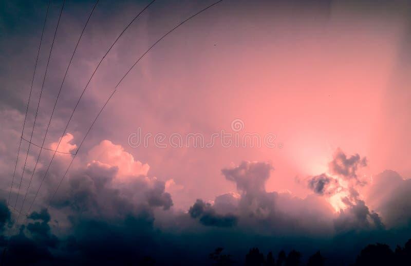 Большое розовое небо цвета стоковое изображение rf