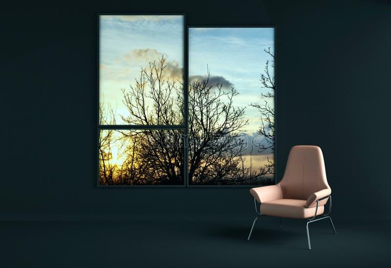 Большое роскошное современное яркое illus живущей комнаты квартиры интерьеров иллюстрация вектора