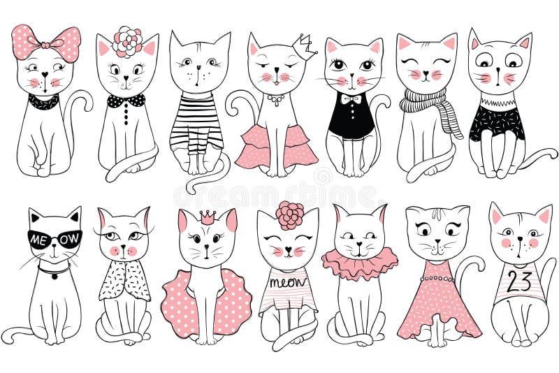 Большое собрание вектора с милыми котами моды Стильный комплект котенка иллюстрация вектора