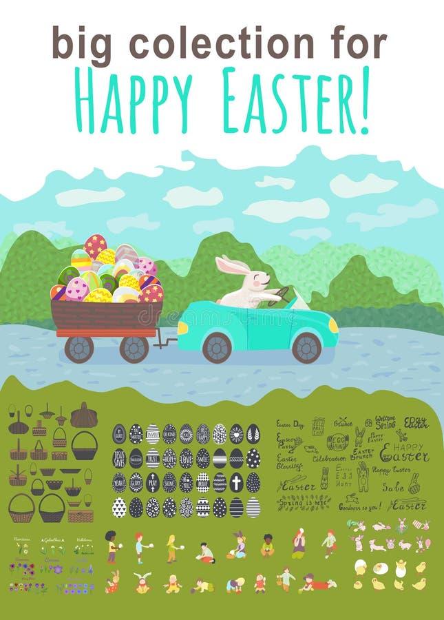 Большое собрание на праздник пасхи зайчик управляет голубым автомобилем и волочит корзину яйца с multicolor яйцами на парке внутр иллюстрация штока