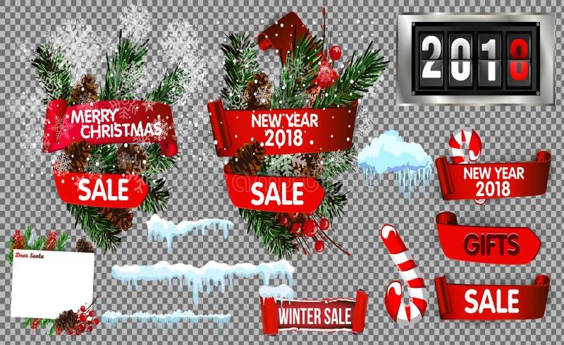 Большое собрание объектов зимних отдыхов Плоская иллюстрация вектора дизайна Комплект счастливого Нового Года и с Рождеством Хрис иллюстрация штока