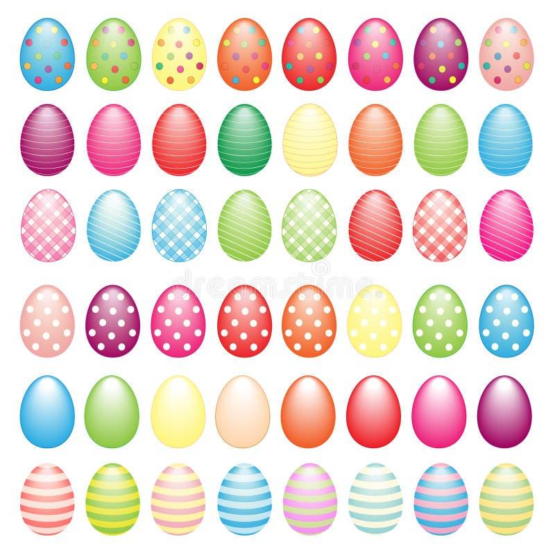 Большое собрание пасхальных яя иллюстрация вектора