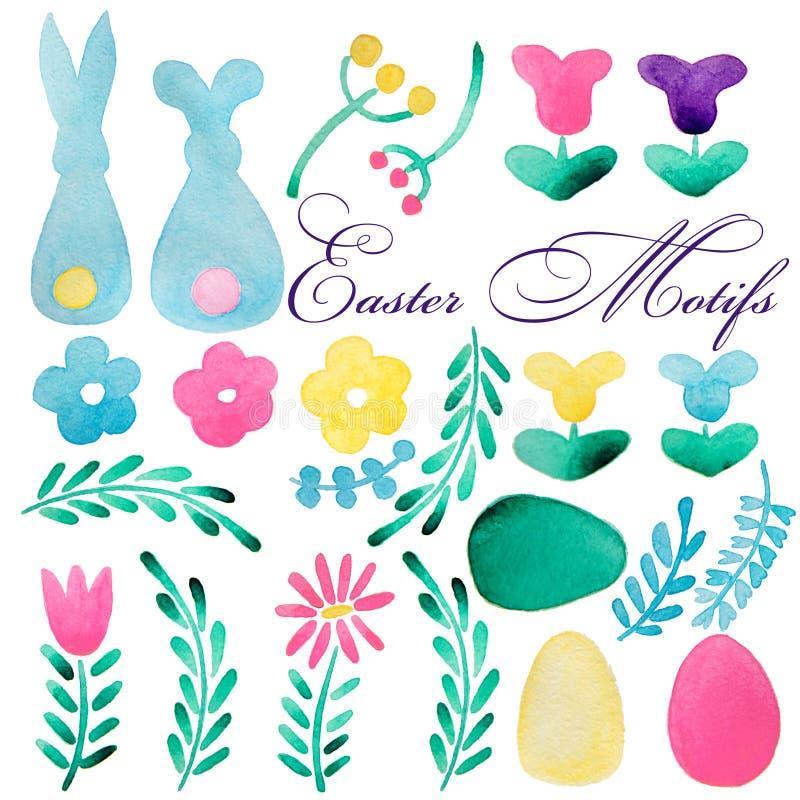 большое собрание пасха Зайчик, различные декоративные яичка, ленты, растительность Розовая, зеленая, желтая, голубая краска Нарис иллюстрация вектора