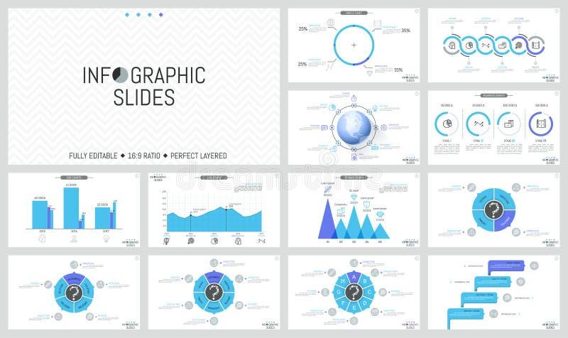 Большое собрание простых infographic планов дизайна Красочные диаграммы в виде вертикальных полос, круглые диаграммы с участками, бесплатная иллюстрация