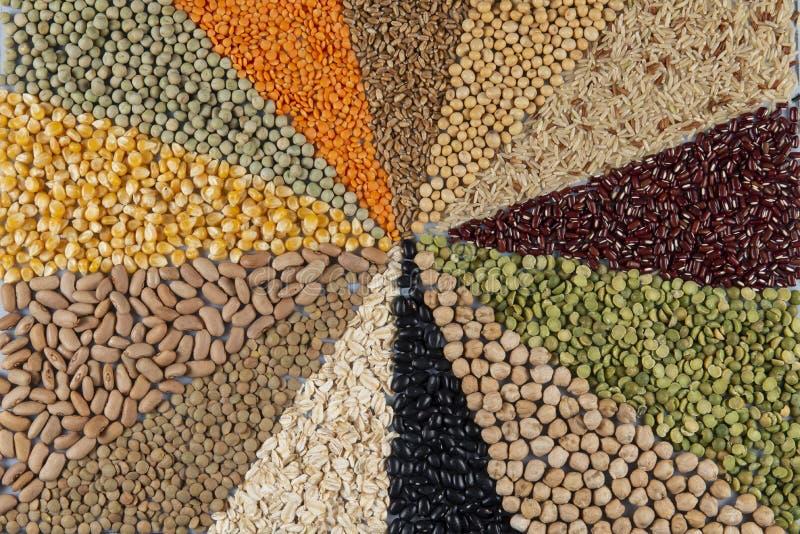 Большое собрание различных хлопьев и съестных семян стоковая фотография
