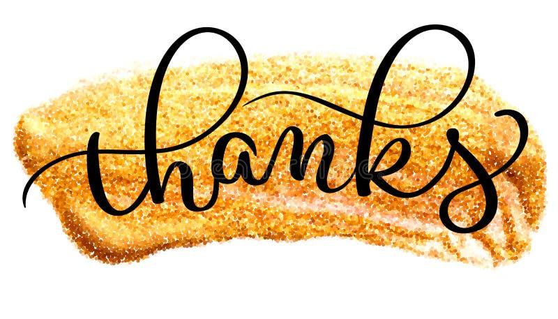 Большое спасибо формулируют на brushstroke золота акварели Иллюстрация нарисованная рукой каллиграфии литерности вектора EPS10 бесплатная иллюстрация