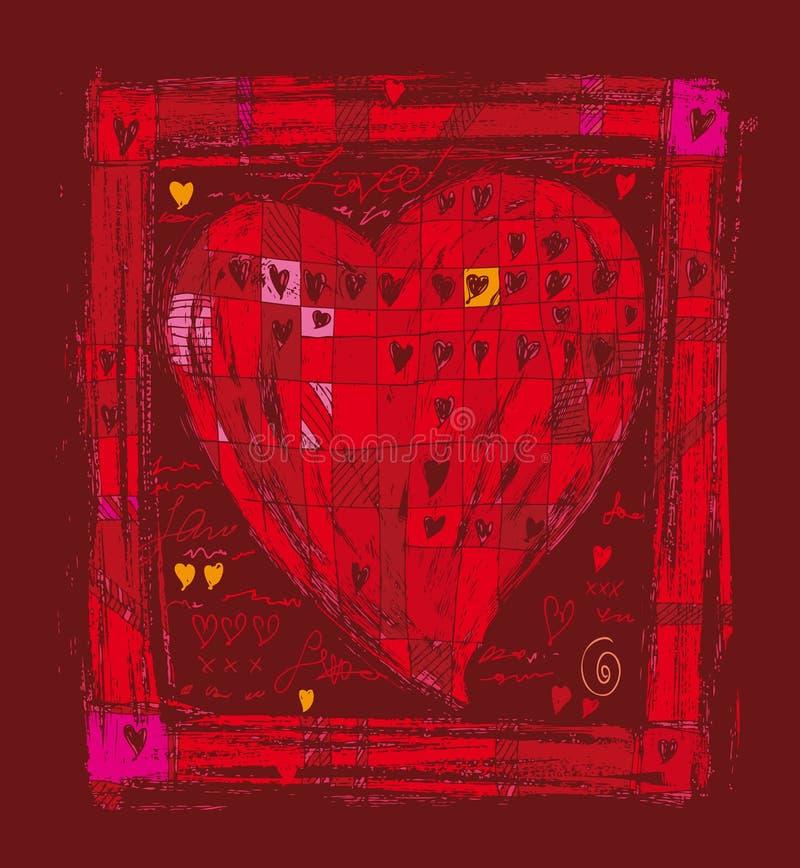 большое фольклорное сердце иллюстрация штока