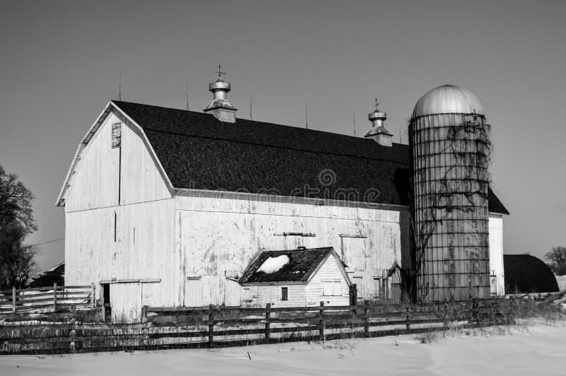 Большой белый амбар с силосохранилищем в снеге зимы стоковое фото