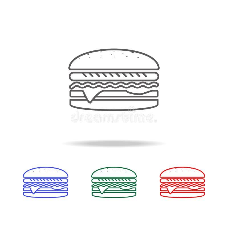 Большой бургер в классическом значке стиля Элементы линии значков фаст-фуда multi покрашенной Наградной качественный значок графи иллюстрация вектора