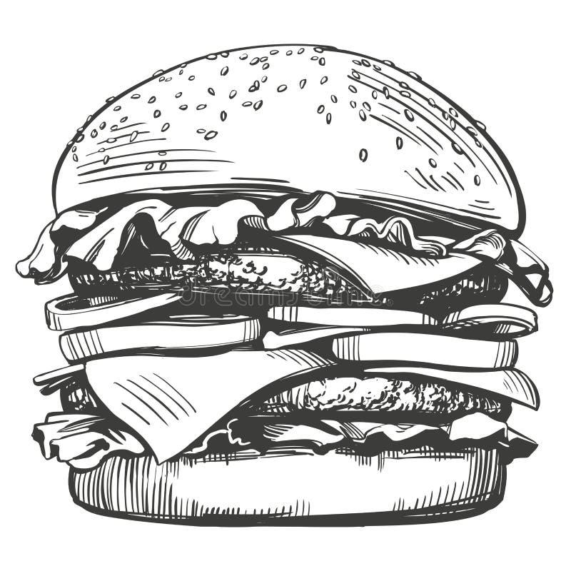 Большой бургер, стиль эскиза иллюстрации вектора гамбургера нарисованный рукой ретро иллюстрация штока