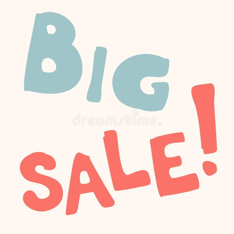 Большой вектор фразы знамени продажи Продажа вычерченной надписи руки большая! Каллиграфия doodle вектора голубая розовая Жирные  иллюстрация вектора