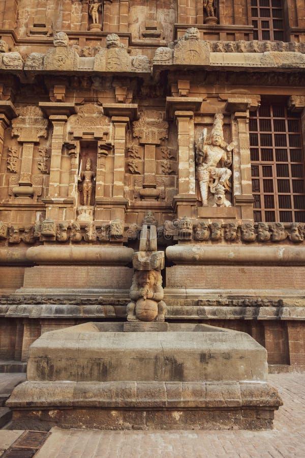 Большой взгляд бортовой стены виска - висок Thanjavur стоковые фото