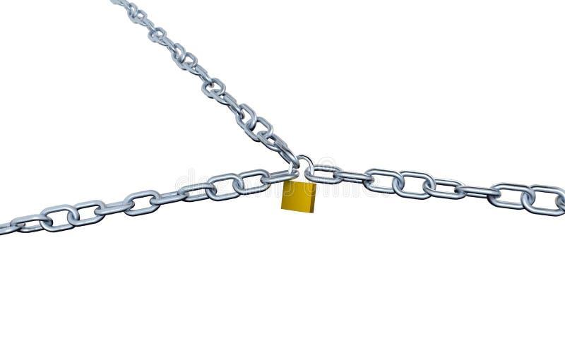 Большой взгляд 3 длинных цепей с большими связями запертыми с пусковой площадкой бесплатная иллюстрация