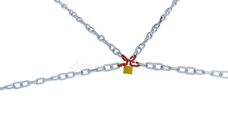 Большой взгляд 4 длинных цепей с связью 4 красных цветов запертой с a иллюстрация вектора