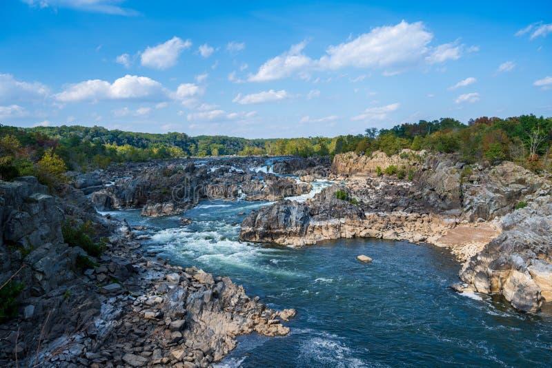 Большой водопад Потомак в Фэрфакс Вирджиния стоковое изображение
