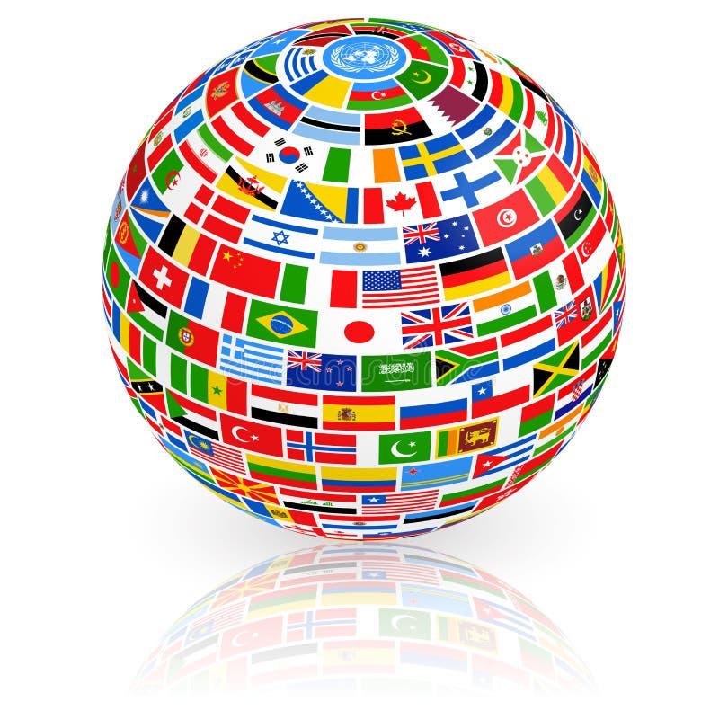 Большой глобус флага иллюстрация вектора