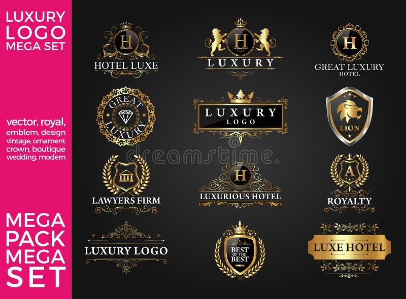 Большой дизайн комплекта роскоши, королевских и элегантных логотипа шаблона вектора иллюстрация вектора