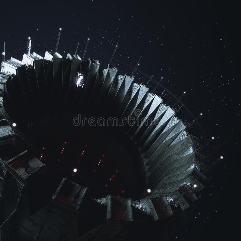 Большой док отверстия космической станции в темном космическом пространстве при малая диаграмма космонавта астронавта плавая внут иллюстрация штока