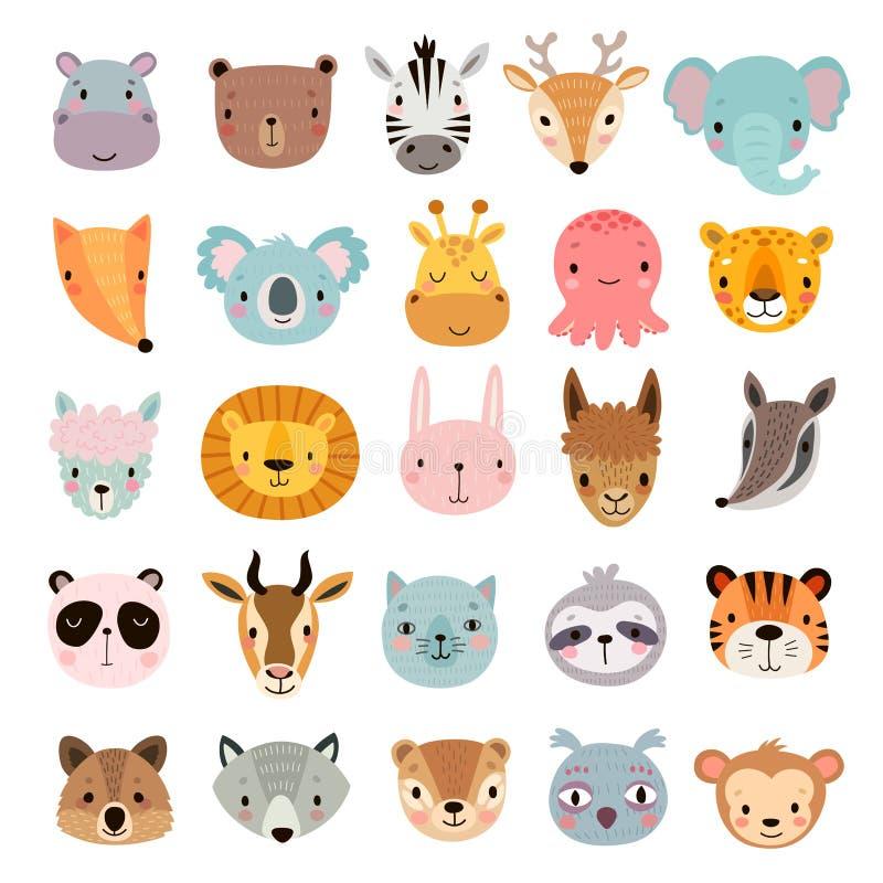 Большой животный набор Милые стороны Характеры руки вычерченные бесплатная иллюстрация