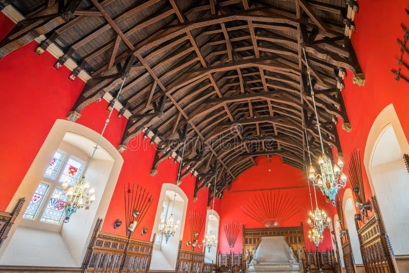Большой зал в замке Эдинбурга, Шотландии стоковое фото