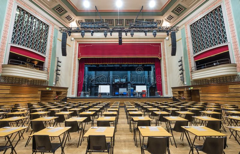 Большой зал, ферзь Mary, Лондонский университет Викторианская зала развлечений восстановленная в стиле стиля Арт Деко после огня  стоковые изображения