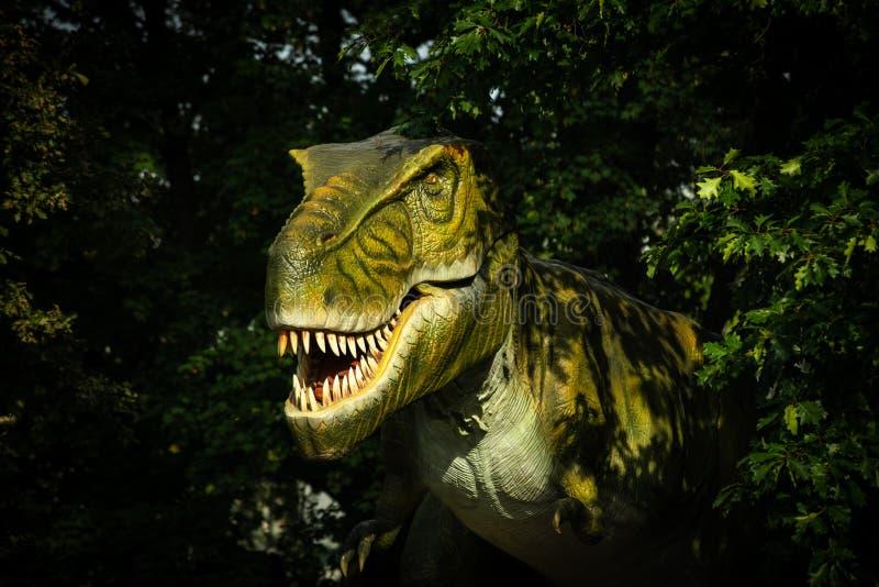 Большой зеленый тиранозавр в зеленом цвете леса стоковые изображения rf