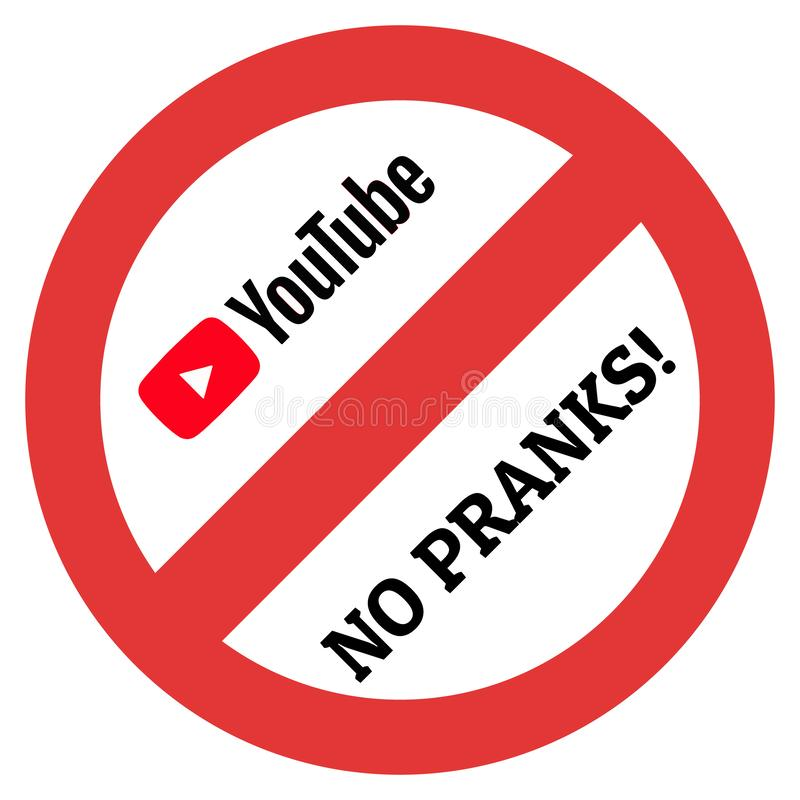 Большой знак ограничения с логотипом Youtube и никакой надписью проказ иллюстрация штока