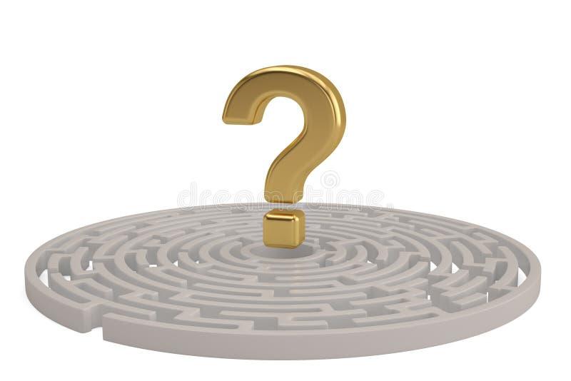Большой золотой вопросительный знак в центре лабиринта иллюстрация 3d иллюстрация штока