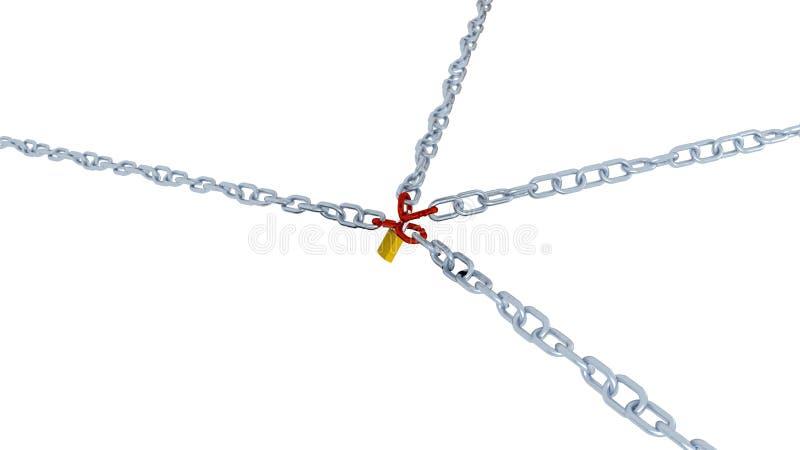 Большой и раскосный взгляд 4 длинных цепей с связью l 4 красных цветов бесплатная иллюстрация