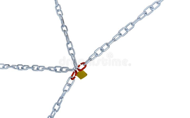 Большой и раскосный взгляд 4 длинных цепей с связью Lo 2 красных цветов иллюстрация вектора