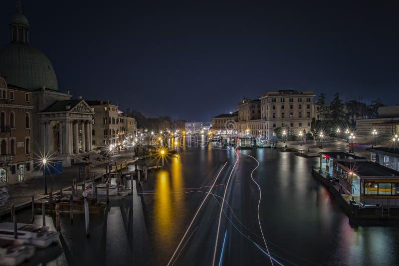 Большой канал в nighttime, Венеция, Италия стоковое фото rf