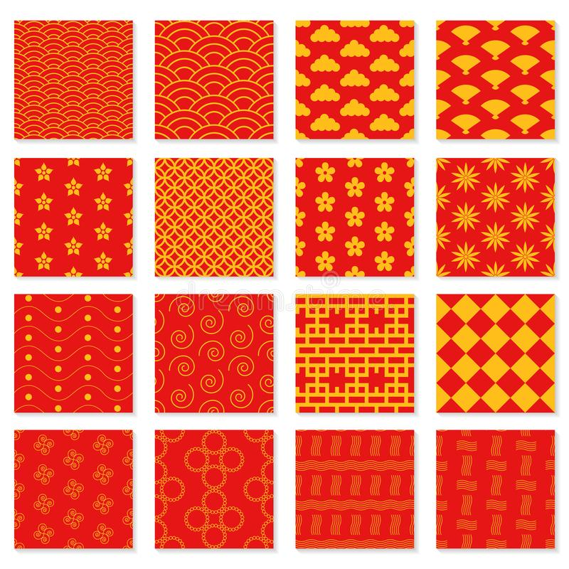 Большой комплект безшовных японских картин иллюстрация вектора