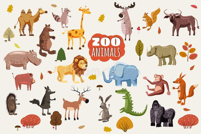 Большой комплект векторов шаржа диких животных Африканские, австралийские, азиатские, южные и североамериканские хищники фауны и иллюстрация штока