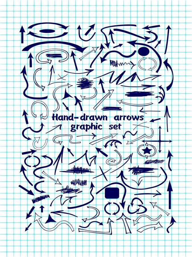 Большой комплект графических элементов и голубых стрелок иллюстрация вектора